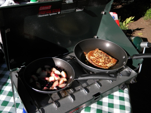 toast & fruit on camp stove